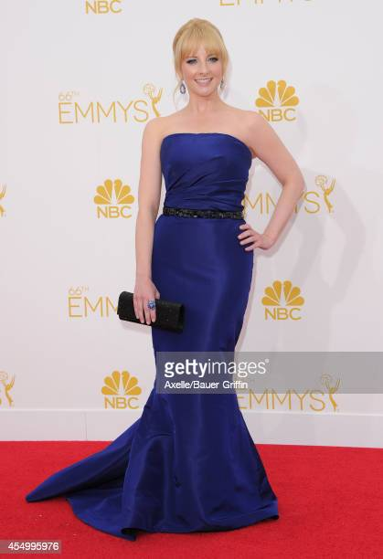 Actress Melissa Rauch arrives at the 66th Annual Primetime Emmy Awards at Nokia Theatre LA Live on August 25 2014 in Los Angeles California