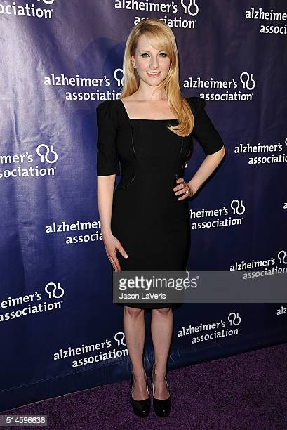 Actress Melissa Rauch attends the 2016 Alzheimer's Association's A Night At Sardi's at The Beverly Hilton Hotel on March 9 2016 in Beverly Hills...