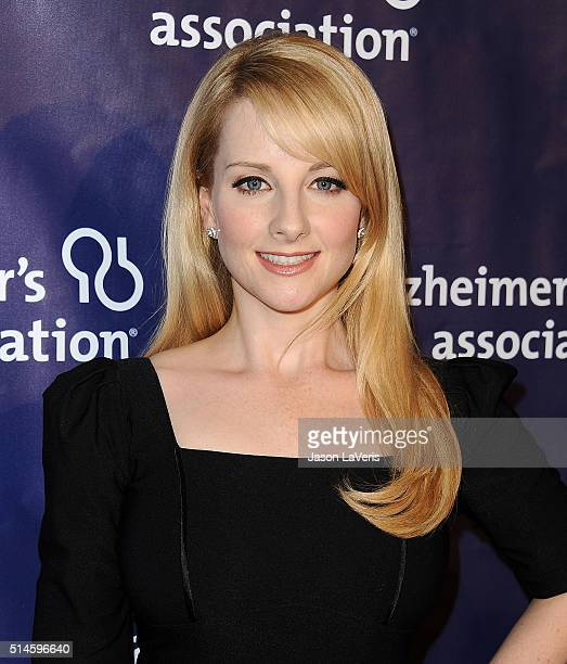 Actress Melissa Rauch attends the 2016 Alzheimer's Association's 'A Night At Sardi's' at The Beverly Hilton Hotel on March 9 2016 in Beverly Hills...