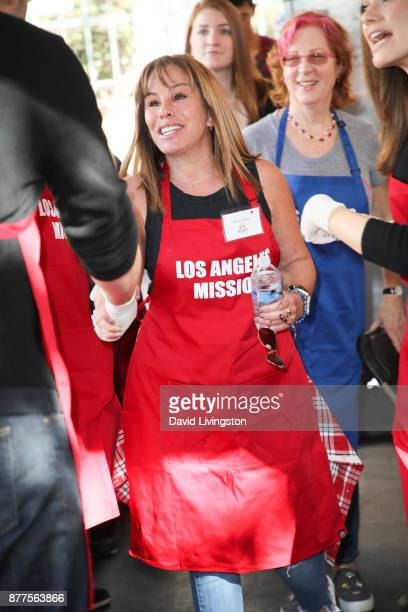 Actress Melissa Rivers is seen at the Los Angeles Mission Thanksgiving Meal for the homeless at the Los Angeles Mission on November 22 2017 in Los...