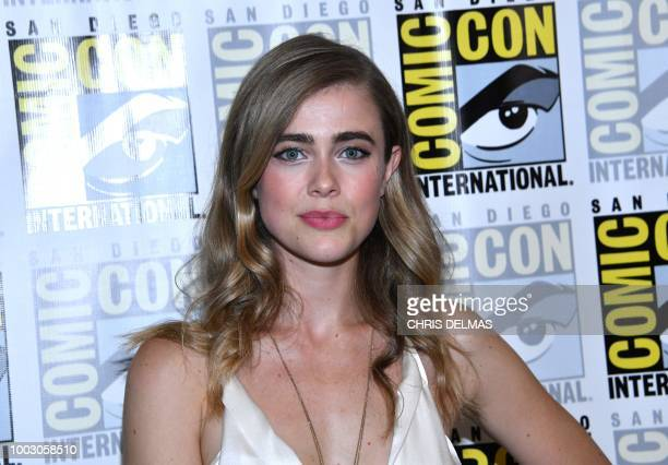 Actress Melissa Roxburgh arrives for the press line of 'Manifest' at Comic Con in San Diego California on July 21 2018