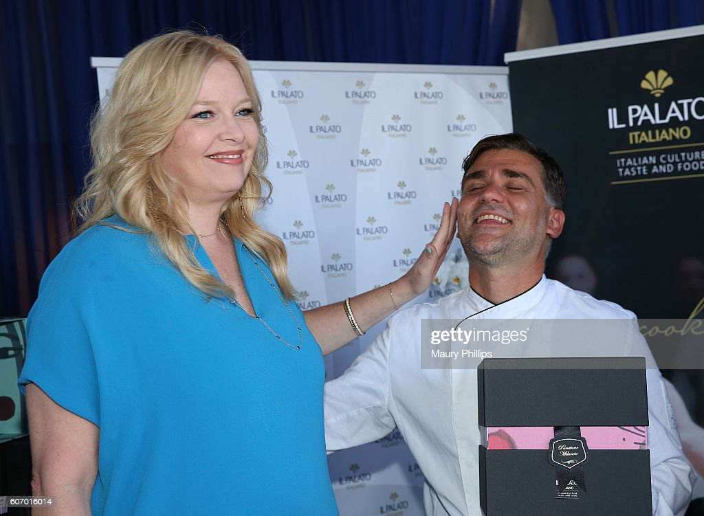 Actress Mellisa Peterman and chef Filippo Sinisgalli attend PILOT PEN & GBK's Pre-Emmy Luxury Lounge - Day 1 at L'Ermitage Beverly Hills Hotel on September 16, 2016 in Beverly Hills, California.