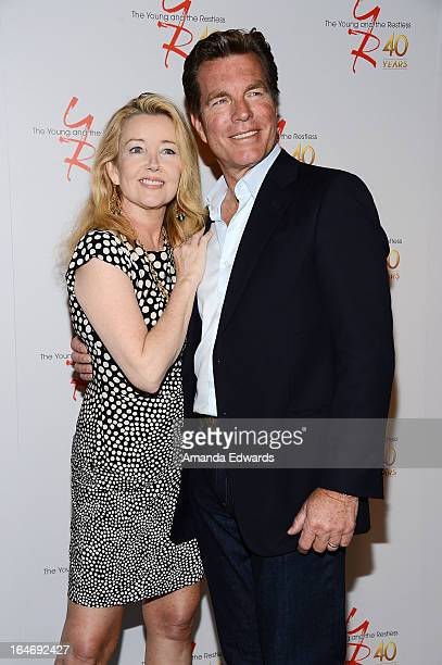 Actress Melody Thomas Scott and actor Peter Bergman attend the 'The Young The Restless' 40th anniversary cakecutting ceremony at CBS Television City...