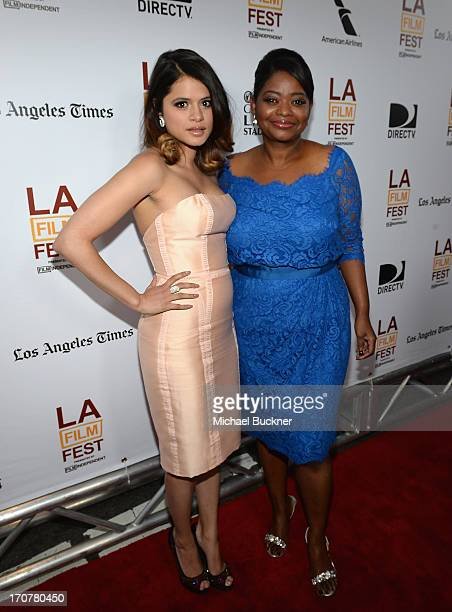 Actress Melonie Diaz and actress Octavia Spencer arrive at the premiere of The Weinstein Company's Fruitvale Station at Regal Cinemas LA Live on June...