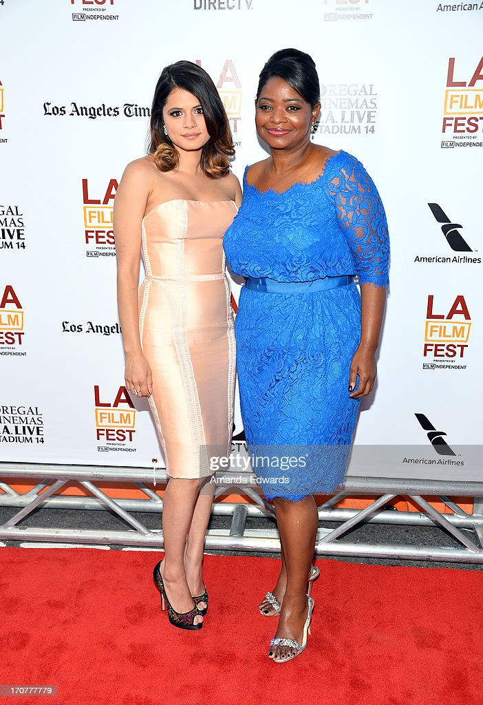 Actress Melonie Diaz (L) and Octavia Spencer attend the 'Fruitvale Station' premiere during the 2013 Los Angeles Film Festival at Regal Cinemas L.A. Live on June 17, 2013 in Los Angeles, California.