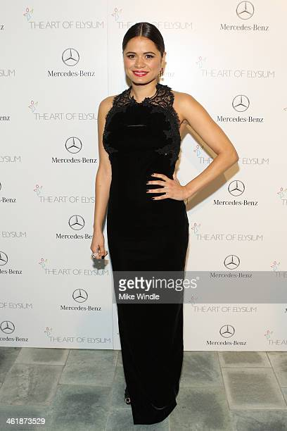 Actress Melonie Diaz attends The Art of Elysium's 7th Annual HEAVEN Gala presented by MercedesBenz at Skirball Cultural Center on January 11 2014 in...
