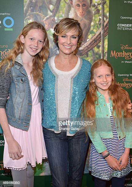 Actress Melora Hardin and daughters Rory Jackson and Piper Quincey Jackson attend the world premiere Of Disney's Monkey Kingdom at Pacific Theatres...