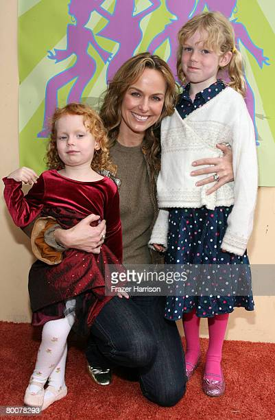 Actress Melora Hardin daughters Piper Jackson and Rory Jackson pose at the Falcon Theatre Premiere Of 'Cindy And The Disco Ball' March 1 2008 in...