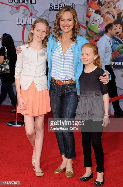 Actress Melora Hardin daughters Rory Jackson and Piper Quincey Jackson arrive at the Los Angeles premiere of 'Muppets Most Wanted' at the El Capitan...