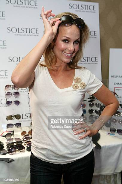 Actress Melora Hardin in Gucci 3036S sunglasses poses at the Solstice Sunglass Boutique/Safilo USA booth during the HBO Luxury Lounge in honor of the...