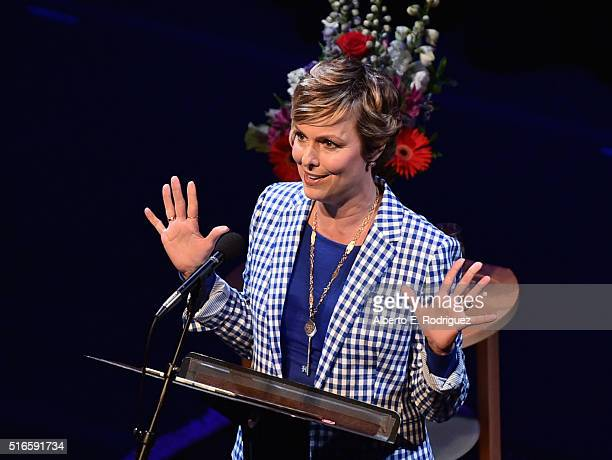 Actress Melora Hardin speaks at Selected Shorts 2016 Dangers and Discoveries at The Getty Center on March 19 2016 in Los Angeles California