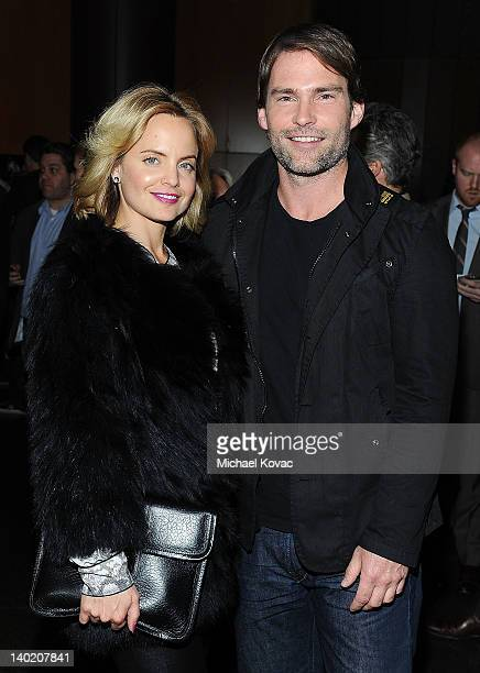 Actress Mena Suvari and actor Seann William Scott arrive at Magnet Releasing's Los Angeles Screening of 'Goon' at DGA Theater on February 29 2012 in...