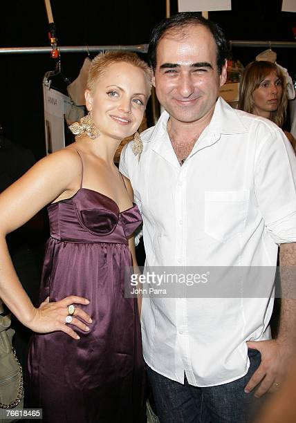 Actress Mena Suvari and Designer Amir Slama with models backstage at the Rosa Cha 2008 Fashion Show at the Tent in Bryant Park during the...