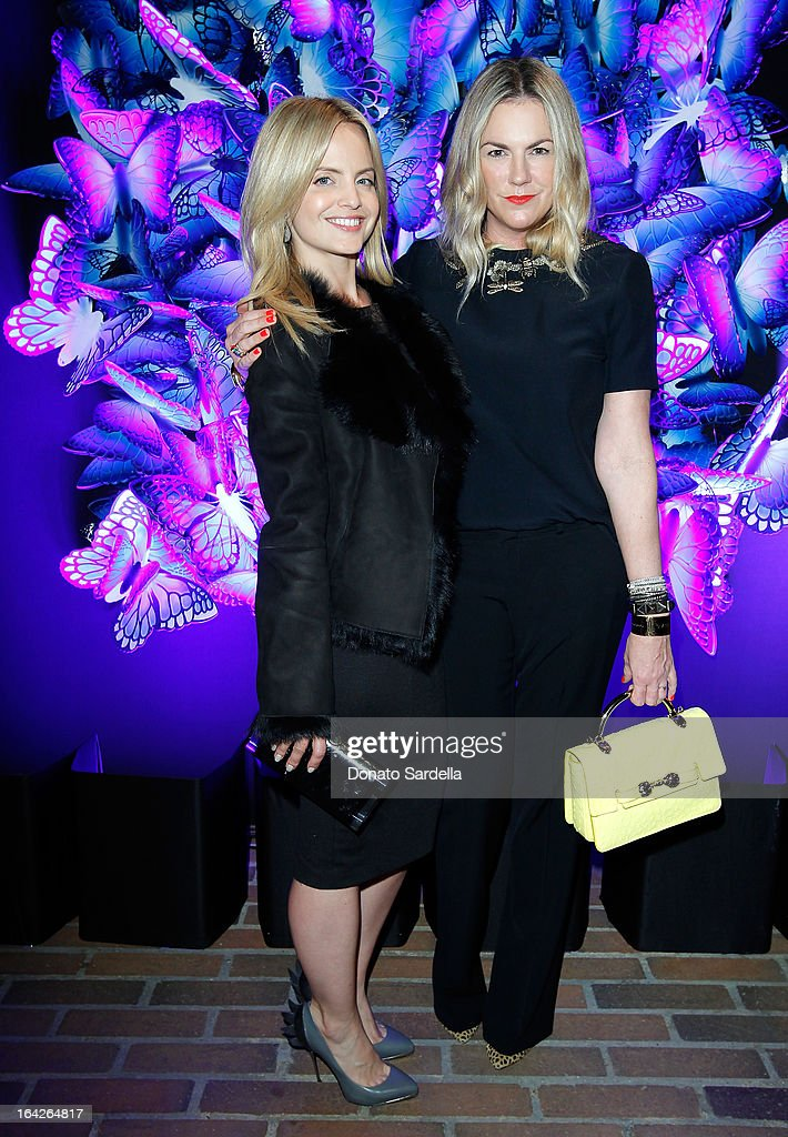 Actress Mena Suvari and Mulberry Creative Director Emma Hill attend the Mulberry Autumn Winter '13 celebration dinner at Chateau Marmont on March 21, 2013 in Los Angeles, California.