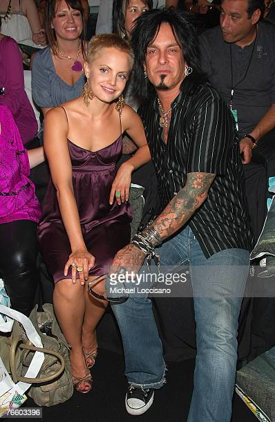Actress Mena Suvari and musician Nikki Sixx at Catherine Malandrino Spring 2008 during MercedesBenz Fashion Week at The Chelsea Art Museum on...