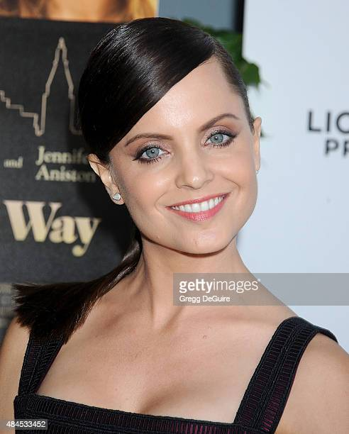 Actress Mena Suvari arrives at the premiere of Lionsgate's She's Funny That Way at Harmony Gold on August 19 2015 in Los Angeles California
