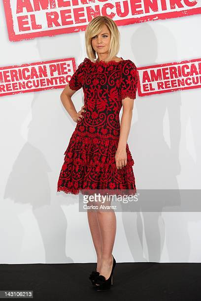 US actress Mena Suvari attends 'American Pie Reunion' photocall at Villamagna Hotel on April 19 2012 in Madrid Spain