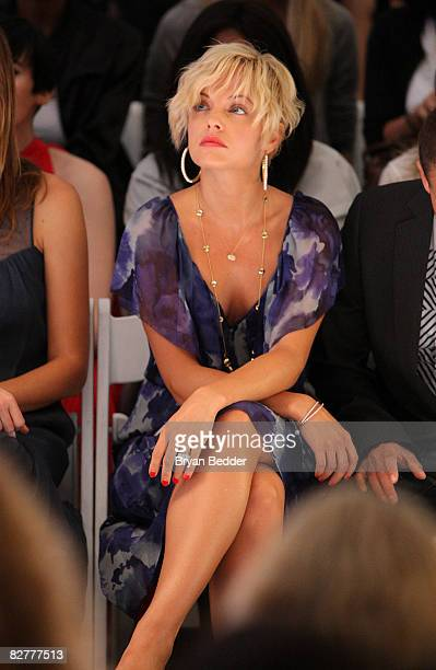 Actress Mena Suvari attends the Rebecca Taylor Spring 2009 fashion show during MercedesBenz Fashion Week at The Salon Bryant Park on September 11...