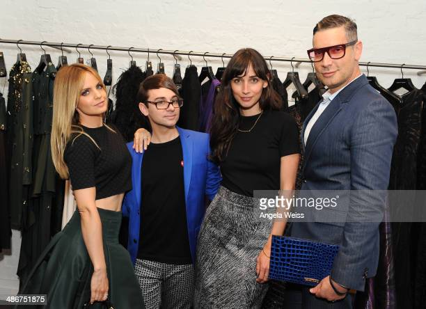 Actress Mena Suvari designer Christian Siriano actress Rebecca Dayan and Decades founder Cameron Silver attend Christian Siriano Fall 2014 LA preview...