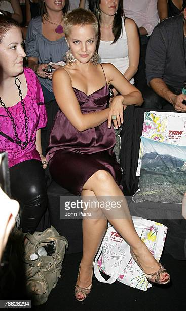 Actress Mena Suvari during the Rosa Cha 2008 Fashion Show at the Tent in Bryant Park during the MercedesBenz Fashion Week Spring 2008 on September 8...