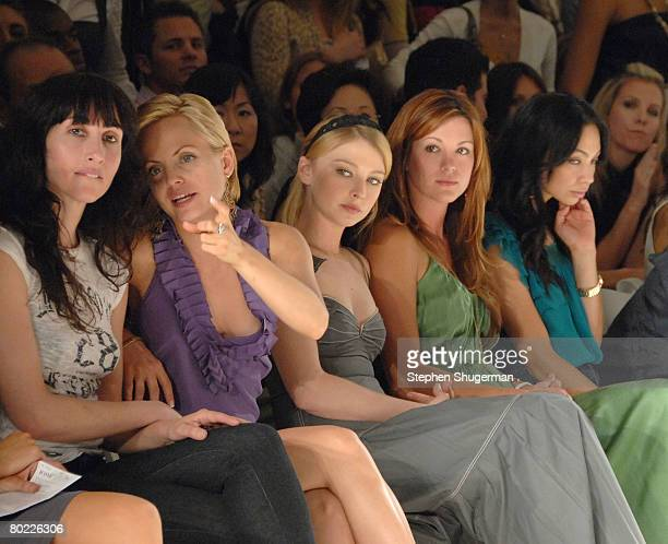 Actress Mena Suvari in the front row at the Jenny Han Fall 2008 fashion show during MercedesBenz Fashion Week held at Smashbox Studios on March 12...