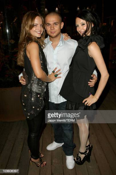 Actress Mena Suvari, Simone Sestito and designer Stacey Bendet arrive at The Alice and Olivia Dinner held at The Store at The Malibu Lumber Yard on...