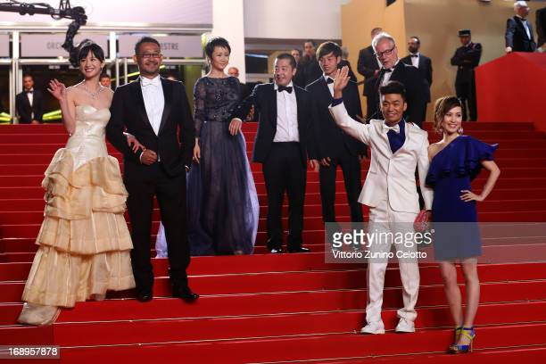 Actress Meng Li actor Jiang Wu actress Tao Zhao director Jia Zhangke actors Lanshan Luo Cannes Film Festival artistic director Thierry Fremaux and...