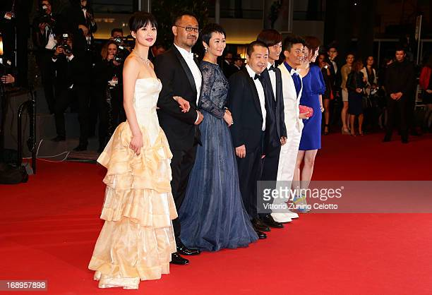Actress Meng Li actor Jiang Wu actress Tao Zhao director Jia Zhangke Actors Lanshan Luo and Baoqiang Wang attend the Premiere of 'Tian Zhu Ding'...