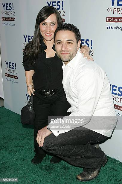Actress Meredith Eaton and guest attend the Yes on Prop 2 benefit at a private residence on September 28 2008 in Los Angeles California