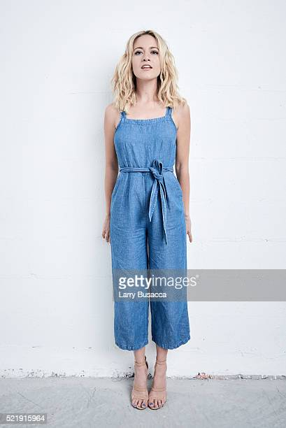 """Actress Meredith Hagner from """"Folk Hero & Funny Guy"""" poses at the Tribeca Film Festival Getty Images Studio on April 16, 2016 in New York City."""