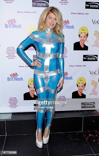 Actress Meredith Ostrom wearing Pam Hogg at Filmmaker And Genlux Magazine Fashion Editor Amanda Eliasch Hosts BritWeek 2013 Cocktail Party on April...