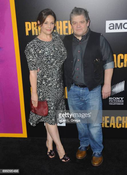 Actress Meredith Salenger and actor/comedian Patton Oswalt arrive for the Premiere Of AMC's 'Preacher' Season 2 held at The Theatre at Ace Hotel on...