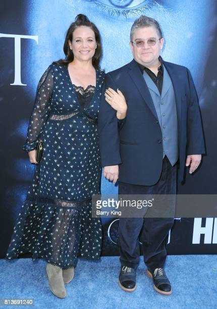 Actress Meredith Salenger and comedian Patton Oswalt attend the Premiere of HBO's 'Game Of Thrones' Season 7 at Walt Disney Concert Hall on July 12...