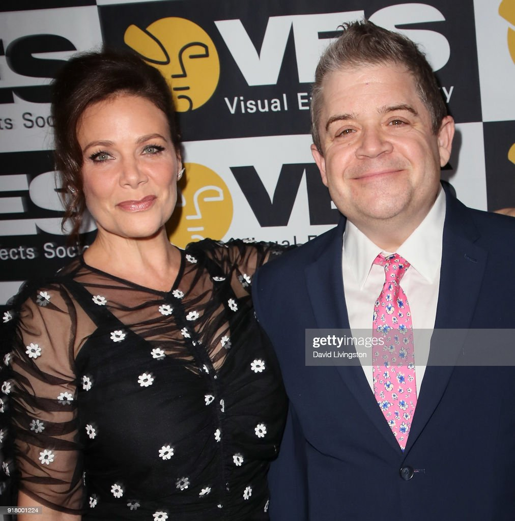 Actress Meredith Salenger (L) and husband actor Patton Oswalt attend the 16th Annual VES Awards at The Beverly Hilton Hotel on February 13, 2018 in Beverly Hills, California.