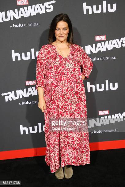 Actress Meredith Salenger arrives at the premiere of Hulu's Marvel's Runaways at the Regency Bruin Theatre on November 16 2017 in Los Angeles...