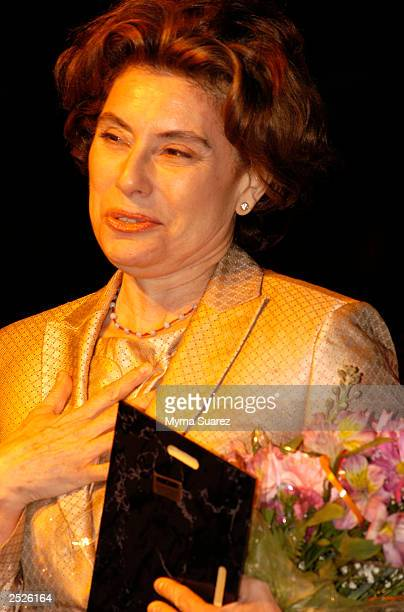 Actress Merel Poloway Julia wife of the late Raul Julia accepts an accolade at the 4th annual HOLA Awards at the Gramery Arts Center September 22...