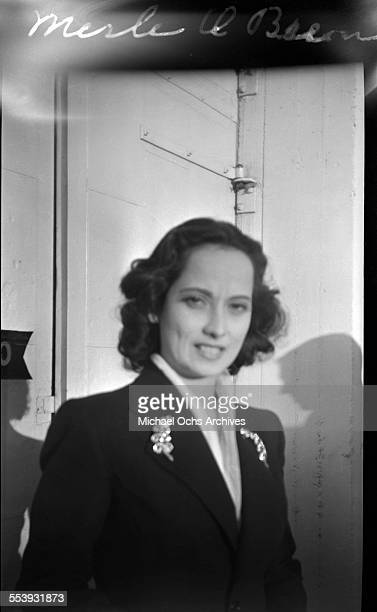 Actress Merle Oberon is photographed on a street in Los Angeles California