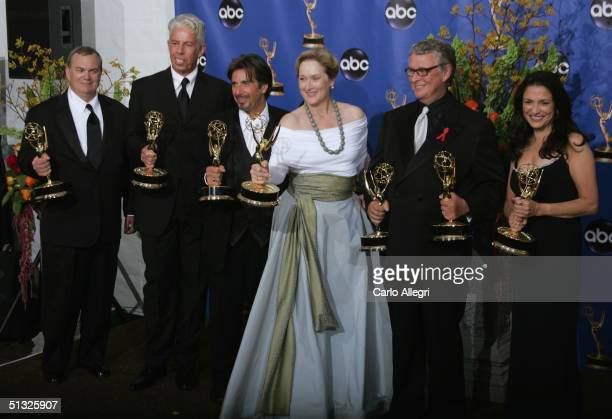 Actress Meryl Streep , actor Al Pacino join other members of the cast backstage as they win Emmy awards in Outstanding Lead Actress in a Miniseries...