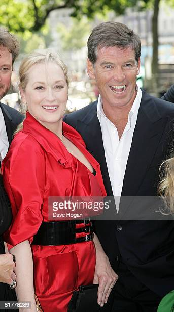 Actress Meryl Streep and Actor Pierce Brosnan arrive at the World Premiere of Mamma Mia The Movie at the Odeon Leicester Square on June 30 2008 in...