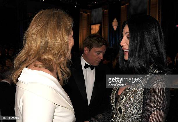 Actress Meryl Streep and Cher in the audience during the 38th AFI Life Achievement Award honoring Mike Nichols held at Sony Pictures Studios on June...