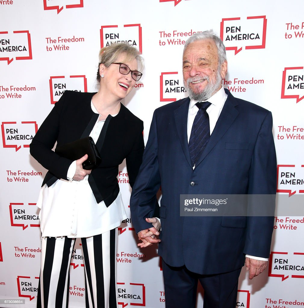 Actress Meryl Streep (L) and composer, lyricist and honoree Stephen Sondheim attend PEN America's 2017 Literary Gala Red Carpet at American Museum of Natural History on April 25, 2017 in New York City.
