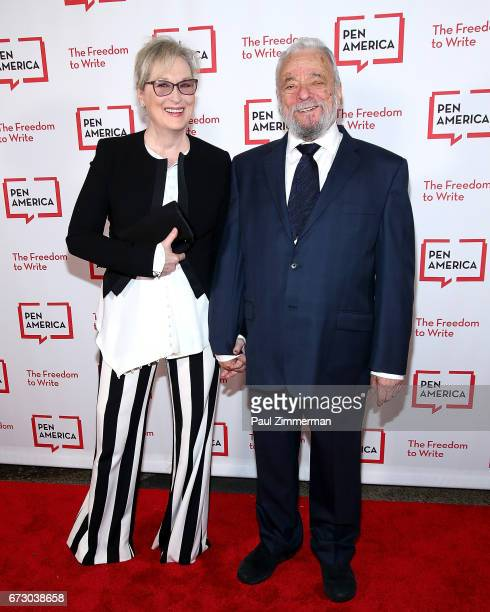 Actress Meryl Streep and composer lyricist and honoree Stephen Sondheim attend PEN America's 2017 Literary Gala Red Carpet at American Museum of...