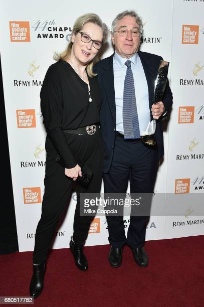 Actress Meryl Streep and Honoree Robert De Niro backstage during the 44th Chaplin Award Gala at David H Koch Theater at Lincoln Center on May 8 2017...
