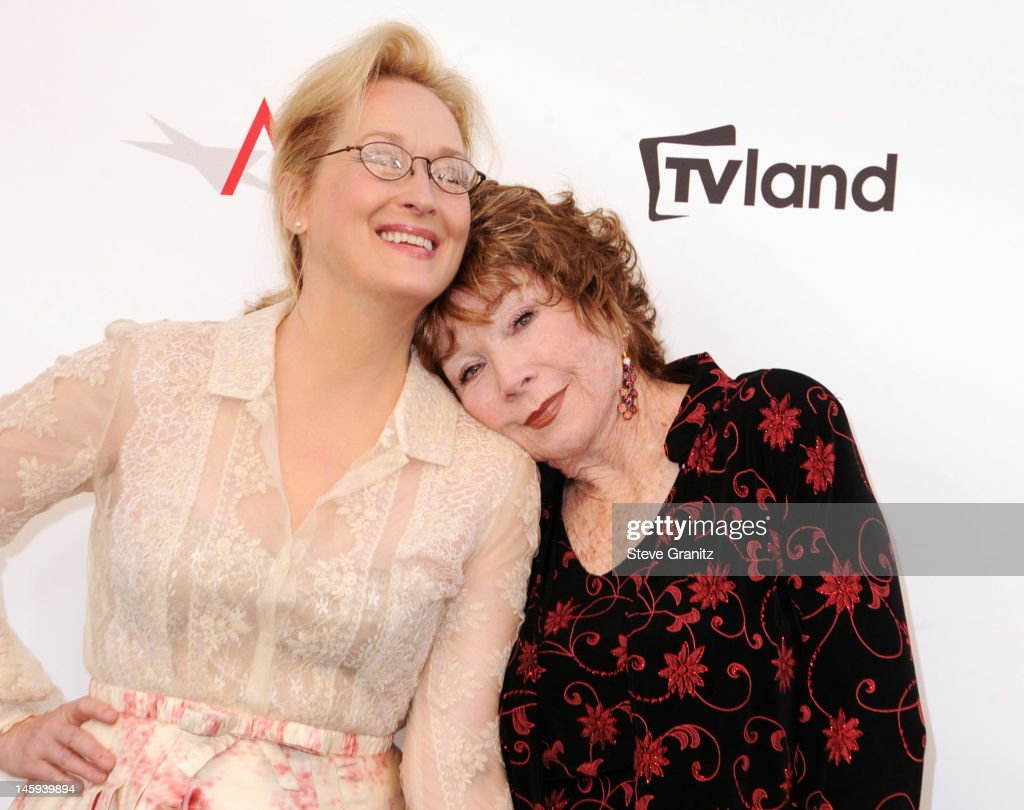 Actress Meryl Streep (L) and Honoree Shirley MacLaine arrive at the 40th AFI Life Achievement Award honoring Shirley MacLaine held at Sony Pictures Studios on June 7, 2012 in Culver City, California. The AFI Life Achievement Award tribute to Shirley MacLaine will premiere on TV Land on Saturday, June 24 at 9PM