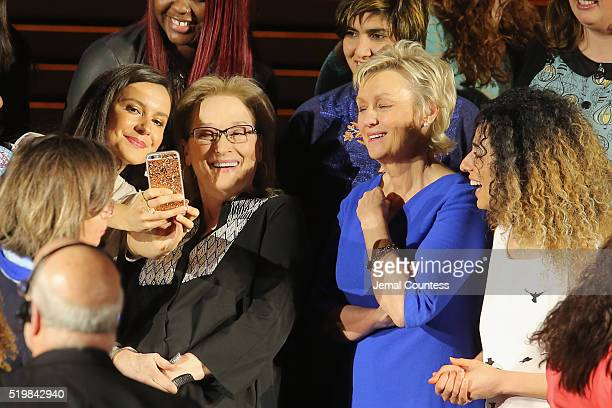 Actress Meryl Streep and journalist Tina Brown pose with Women in the World Summit speakers at Meryl Streep and Leaders of Tomorrow Call to Action...