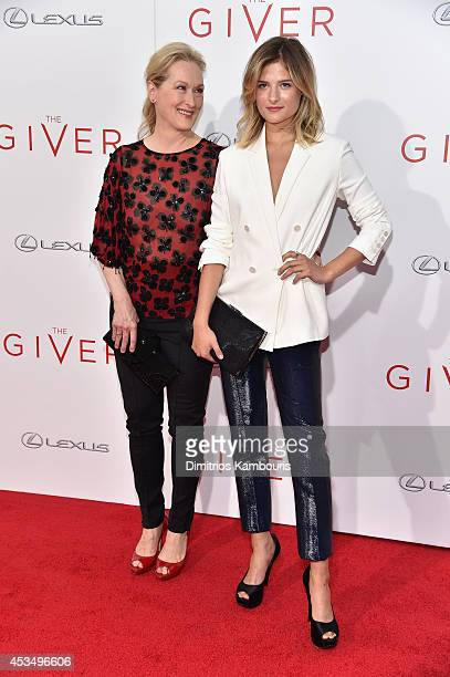 Actress Meryl Streep and Louisa Gummer attend The Giver premiere at Ziegfeld Theater on August 11 2014 in New York City