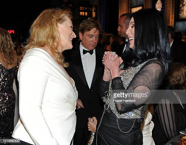 Actress Meryl Streep and singer/actress Cher in the audience during the 38th AFI Life Achievement Award honoring Mike Nichols held at Sony Pictures...