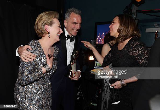 Actress Meryl Streep and winner of Best Actor Daniel DayLewis backstage during the Oscars held at the Dolby Theatre on February 24 2013 in Hollywood...