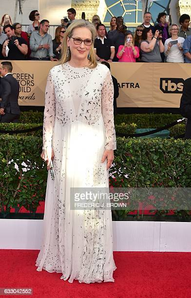 Actress Meryl Streep arrive for the 23rd Annual Screen Actors Guild Awards at the Shrine Exposition Center on January 29 in Los Angeles, California....