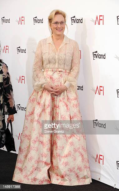 Actress Meryl Streep arrives at the 40th AFI Life Achievement Award honoring Shirley MacLaine held at Sony Pictures Studios on June 7 2012 in Culver...